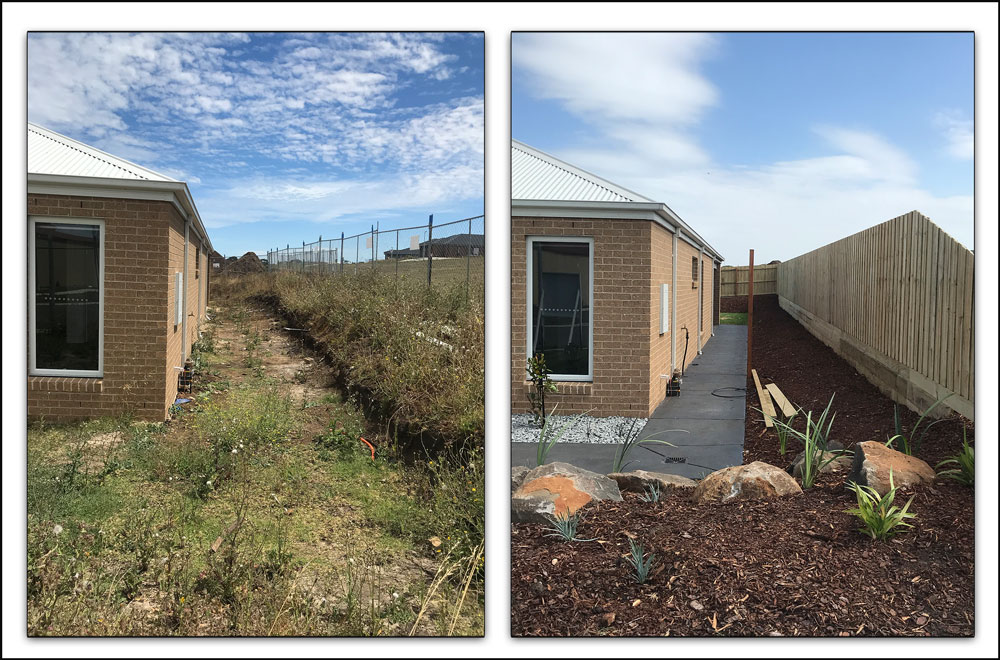 Showing a battered slope rather than a steep retaining wall.  It's a cheaper alternative if you have the space.